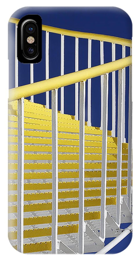 Yellow IPhone X Case featuring the photograph Yellow Steps On Tank by Robert Woodward