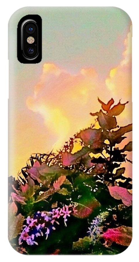 Sharkcrossing IPhone X / XS Case featuring the digital art Yellow Sunrise And Flowers - Vertical by Lyn Voytershark