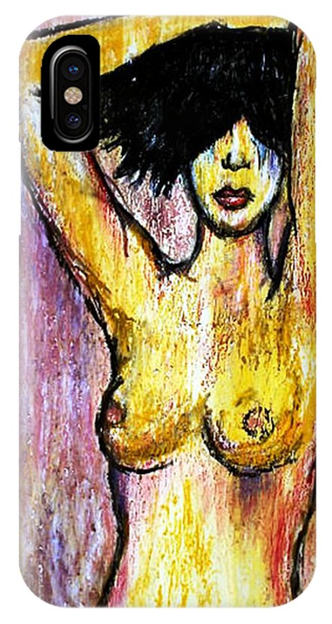 Nude IPhone X / XS Case featuring the drawing Yellow by Thomas Valentine