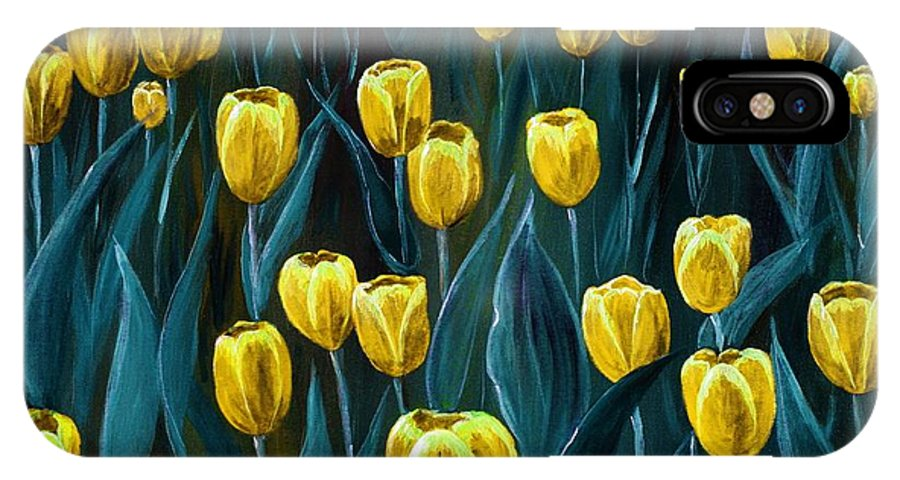 May IPhone X Case featuring the painting Yellow Tulip Field by Anastasiya Malakhova