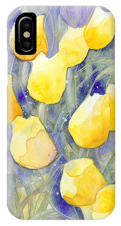 Yellow Tulips IPhone X Case featuring the painting Yellow Tulips 1 by Christina Rahm Galanis