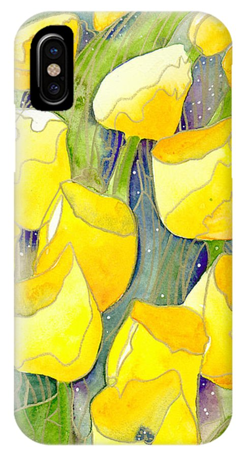 Yellow Tulips IPhone X Case featuring the painting Yellow Tulips 2 by Ingela Christina Rahm
