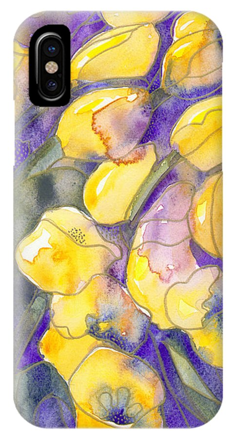 Yellow Tulips IPhone X Case featuring the painting Yellow Tulips 3 by Ingela Christina Rahm