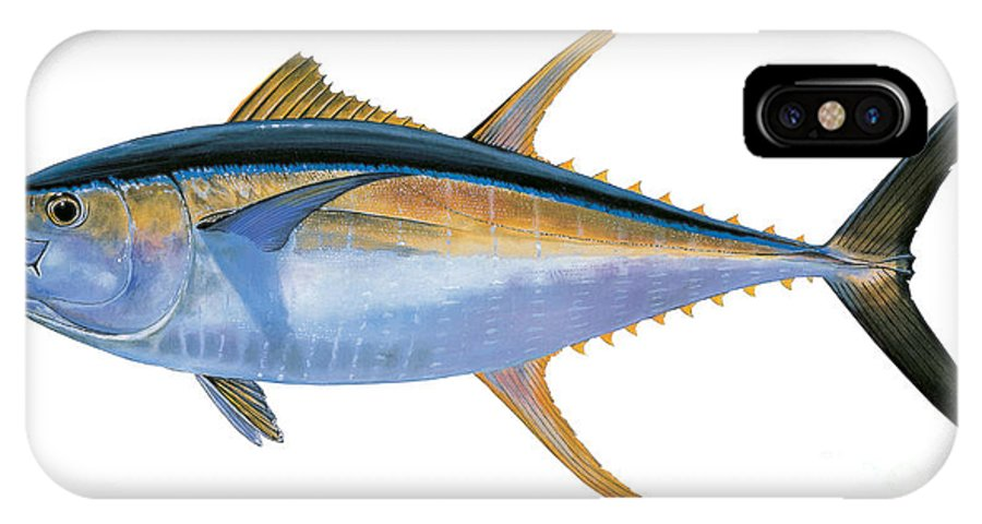 Yellowfin Tuna IPhone X Case featuring the painting Yellowfin Tuna by Carey Chen