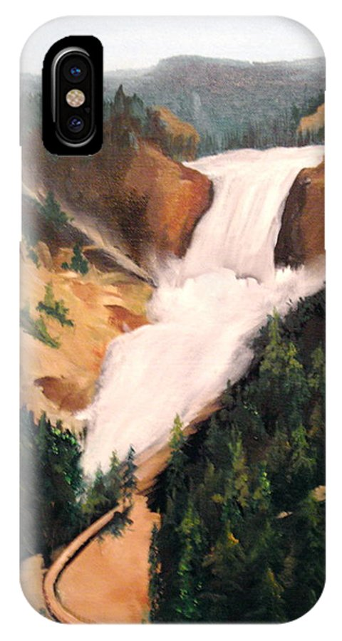 Yellowstone IPhone X Case featuring the painting Yellowstone by Ellen Canfield