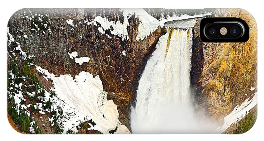 Yellowstone Falls IPhone X Case featuring the photograph Yellowstone Falls From Lookout Point. by Jamie Pham