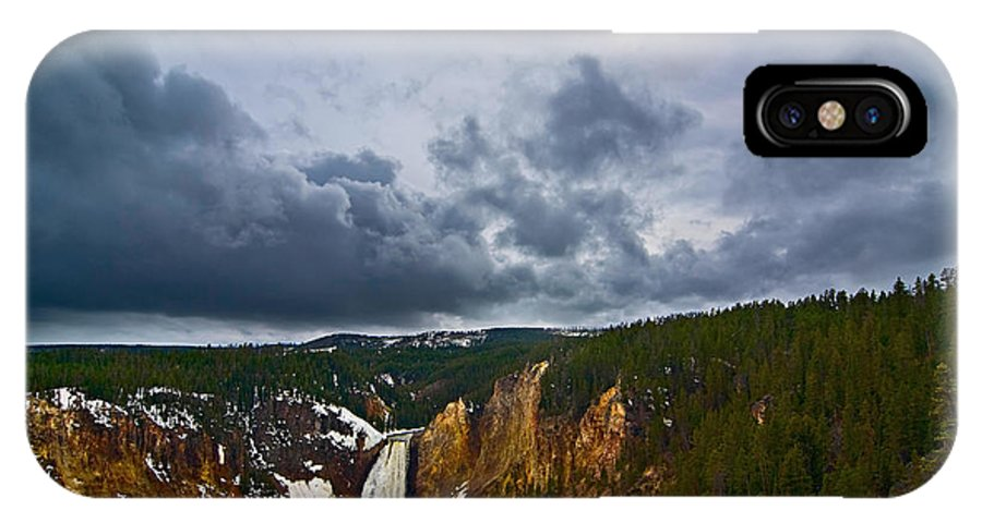 Yellowstone Falls IPhone X Case featuring the photograph Yellowstone Storm by Jamie Pham