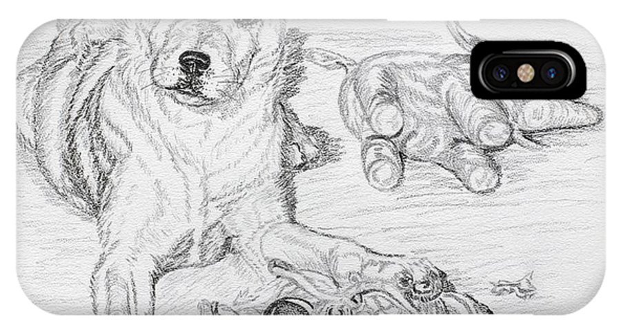 Animal IPhone X Case featuring the drawing Yes This Is My Toy by Lana Tyler