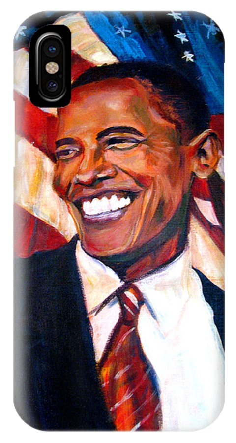 Barack IPhone Case featuring the painting Yes We Can by Art Nomad Sandra Hansen