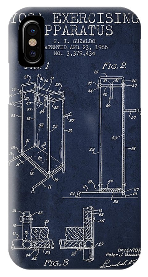 Yoga IPhone X Case featuring the digital art Yoga Exercising Apparatus Patent From 1968 - Navy Blue by Aged Pixel
