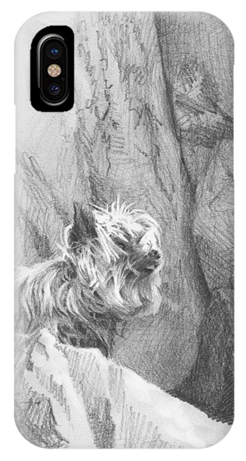 <a Href=http://miketheuer.com Target =_blank>www.miketheuer.com</a> Yorkie Dog On A Cliff Pencil Portrait IPhone X Case featuring the drawing Yorkie Dog On A Cliff Pencil Portrait by Mike Theuer