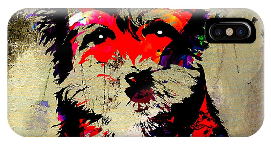 Yorkshire Terrier Paintings IPhone X Case featuring the mixed media Yorkshire Terrier by Marvin Blaine
