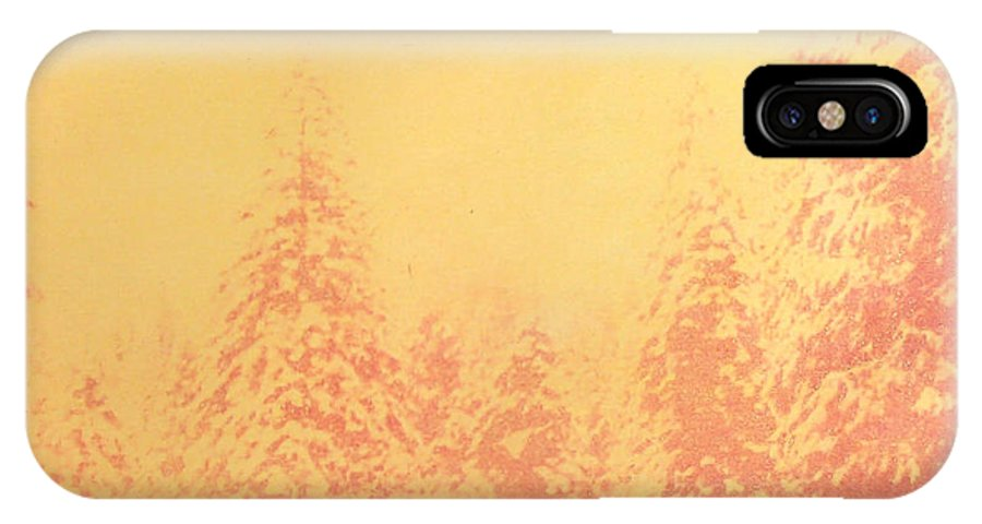 Yosemite IPhone X Case featuring the painting Yosemite Forest in Red and Yellow by Philip Fleischer