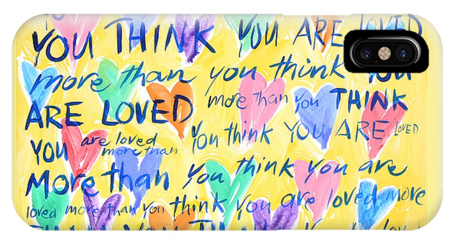 Yellow Hearts IPhone X Case featuring the painting You Are Loved by Sally Huss