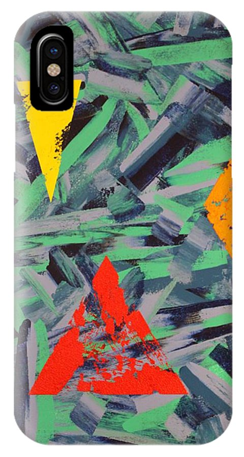 Abstract IPhone X Case featuring the painting You Missed The Point by David Mayeau