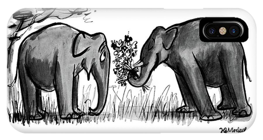 (lady Elephant To Gentleman Elephant Presenting Her With A Large Bouquet Of Flowers Romance IPhone X Case featuring the drawing You Remembered by Frank Modell