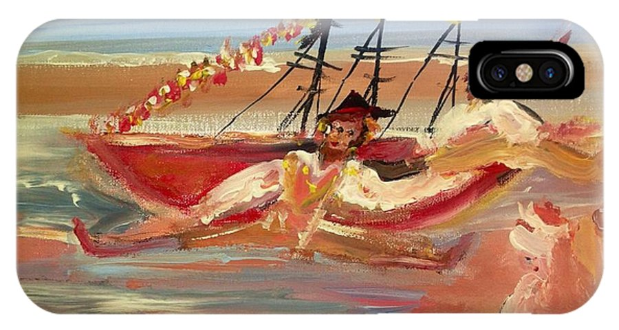 Pirates IPhone X Case featuring the painting You Said It Was A Big Boat by Judith Desrosiers