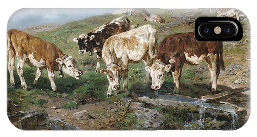 Tyrol IPhone X Case featuring the painting Young Cattle In Tyrol by Mountain Dreams