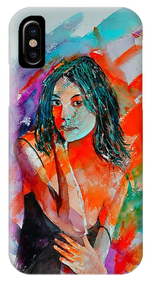 Female IPhone X Case featuring the painting Young Girl 52622 by Pol Ledent