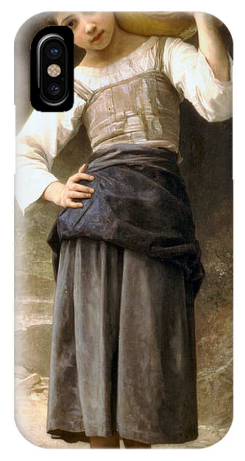 Young Girl Going To The Fountain IPhone X Case featuring the digital art Young Girl Going To The Fountain by William Bouguereau