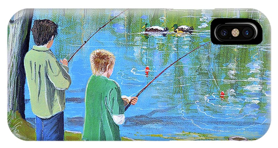 Fishing IPhone X Case featuring the painting Young Lads Fishing by Bill Holkham
