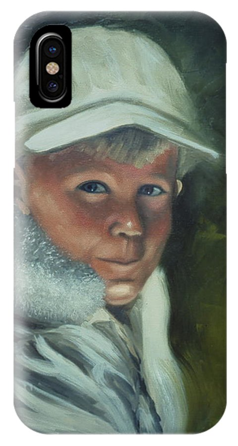 Youngster IPhone X Case featuring the painting Young Man by Sherri Anderson