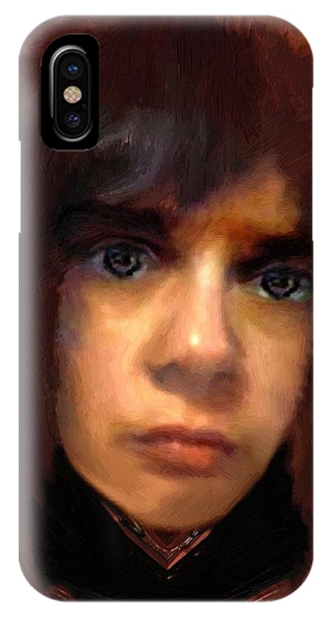 Portrait IPhone X Case featuring the painting Young Warrior by RC DeWinter