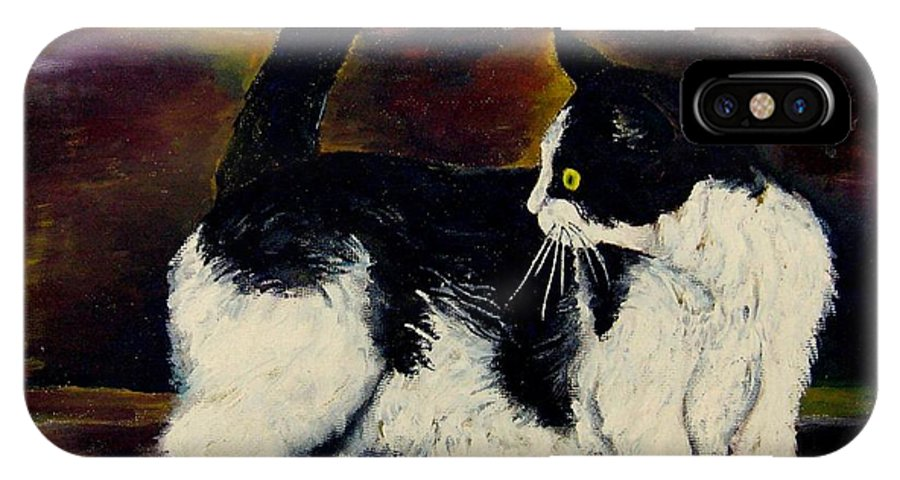 Cats IPhone X Case featuring the painting Your Pets Commission Me To Paint by Carole Spandau