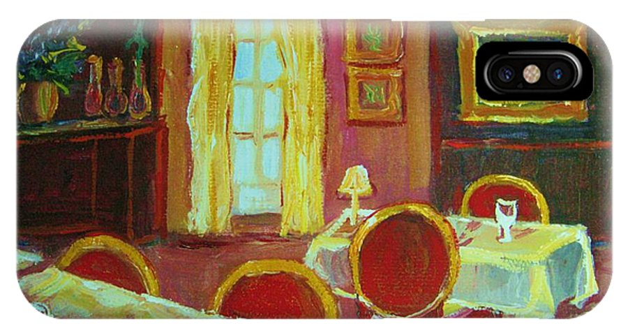 Interior IPhone X Case featuring the painting Your Table Awaits by Carole Spandau