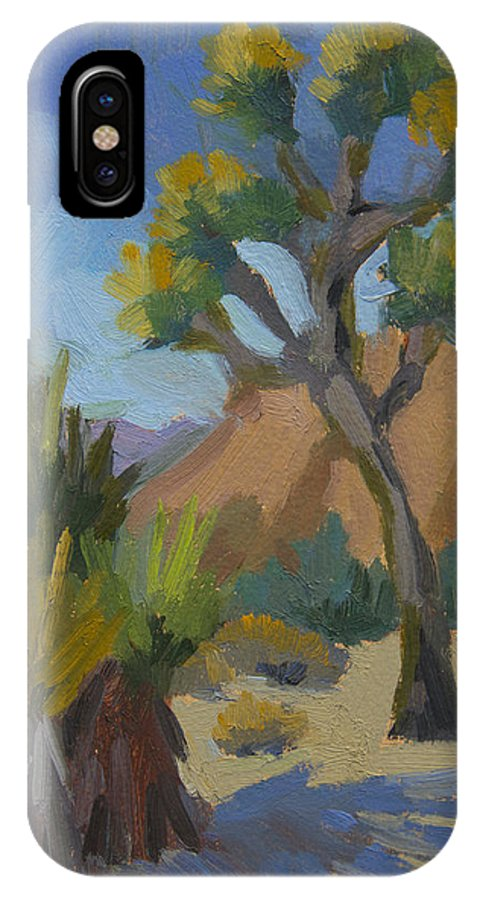 Yucca IPhone X Case featuring the painting Yucca And Joshua by Diane McClary