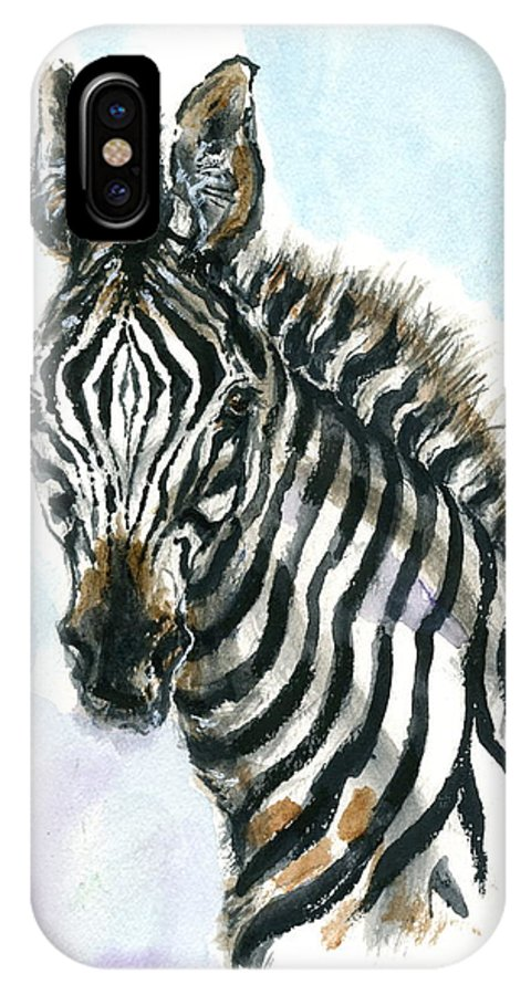 Mary Ogden Armstrong IPhone X Case featuring the painting Zebra 1 by Mary Armstrong