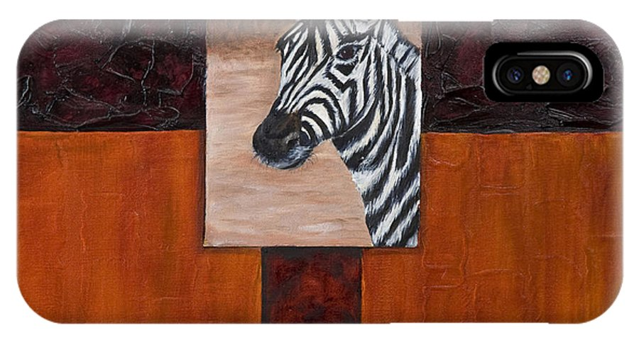 Animal IPhone X Case featuring the painting Zebra by Darice Machel McGuire