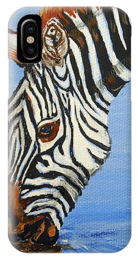 Zebra IPhone X Case featuring the painting Zebra Drink by Sandra Wilson