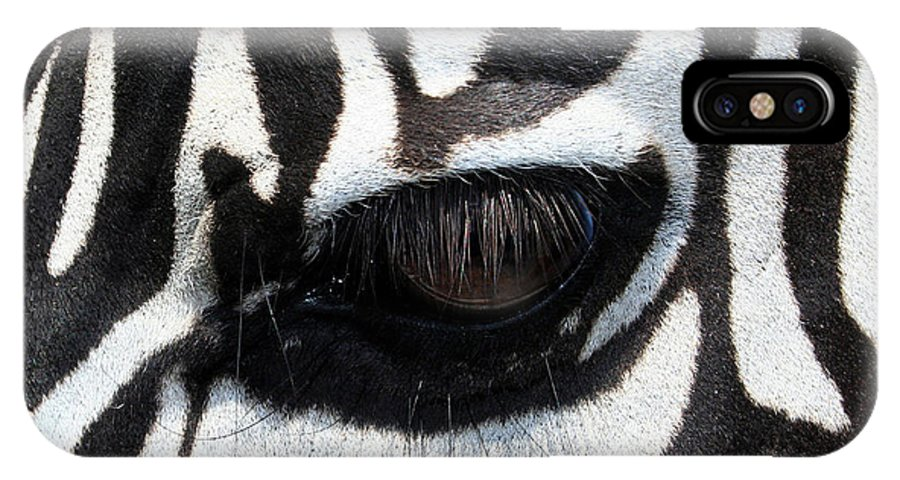 Zebra IPhone X Case featuring the photograph Zebra Eye by Linda Sannuti