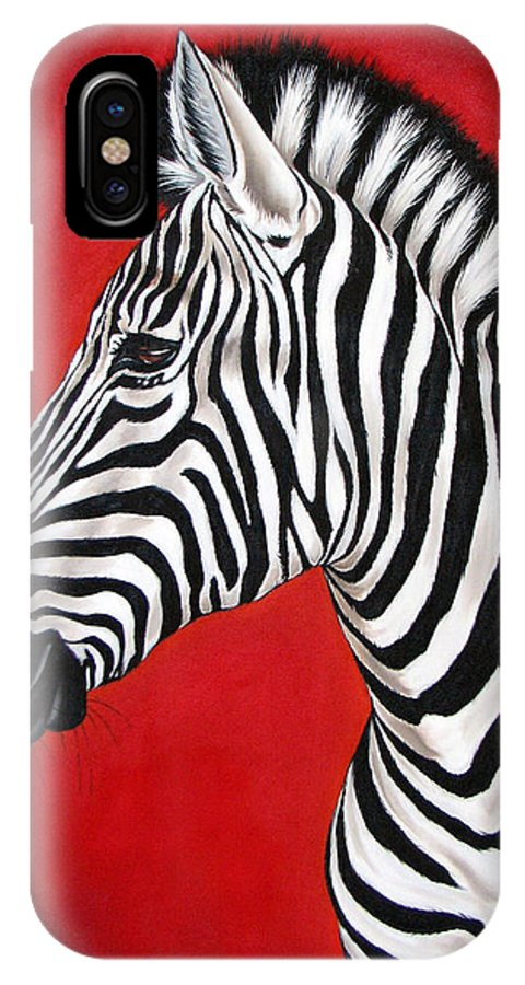 Zebra IPhone Case featuring the painting Zebra by Ilse Kleyn