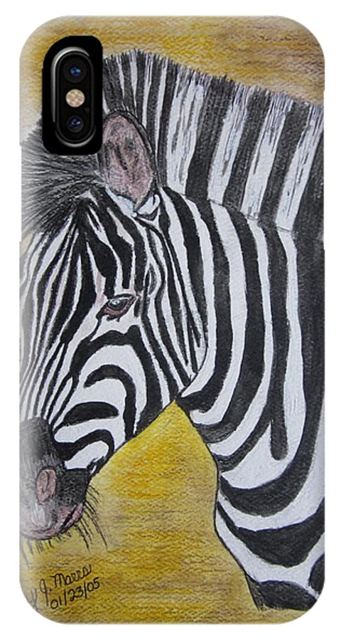 Zebra IPhone X Case featuring the painting Zebra Portrait by Kathy Marrs Chandler