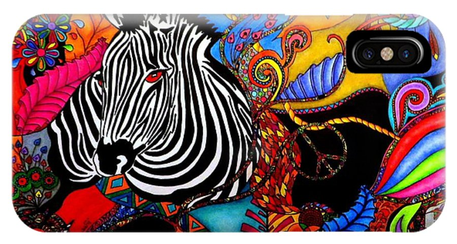 Zebra IPhone X Case featuring the painting Zebra by Rebeca Rambal