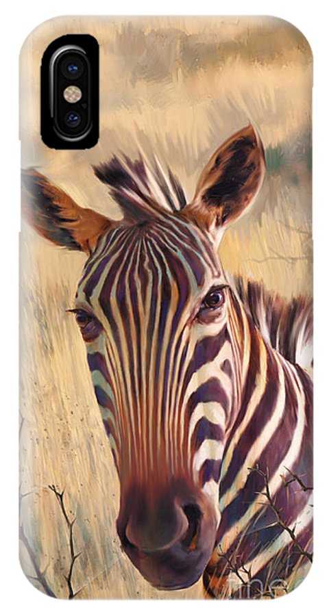 Zebra Paintings Paintings IPhone X Case featuring the painting Zebra by Rob Corsetti