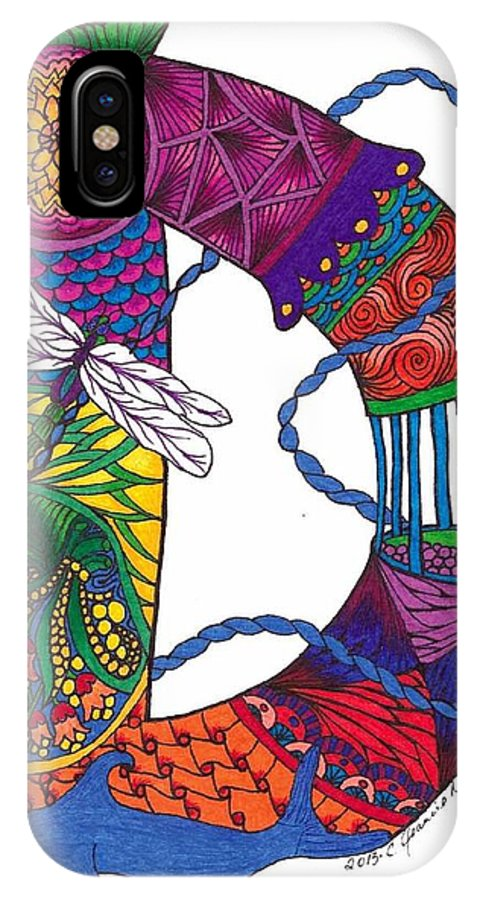 Letter IPhone X Case featuring the drawing Dancing Dolphin by Jeanine Noegel