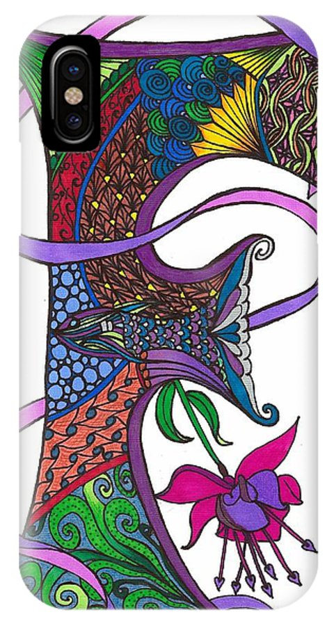 Letter IPhone X Case featuring the drawing Flaming Fuscia by Jeanine Noegel