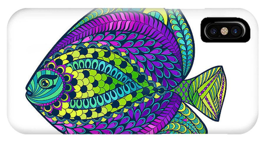 Engraving IPhone X Case featuring the digital art Zentangle Stylized Fish With Abstract by Avokishvok