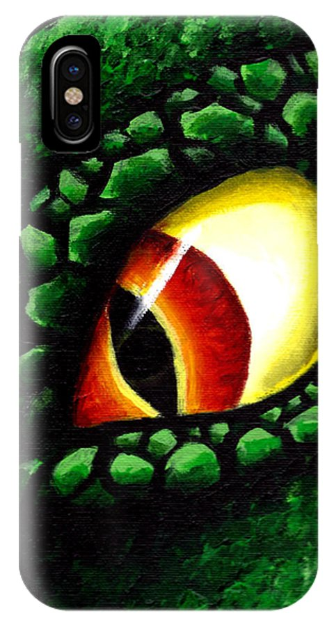 Lizard IPhone X Case featuring the painting 'zilla's Eye On You by Michael Ivy