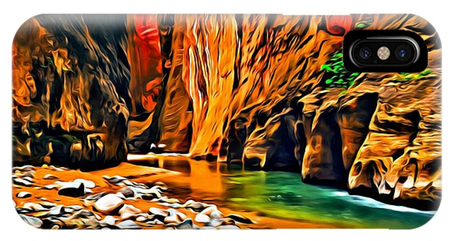 Landscape IPhone X Case featuring the painting Zion Canyon by Florian Rodarte