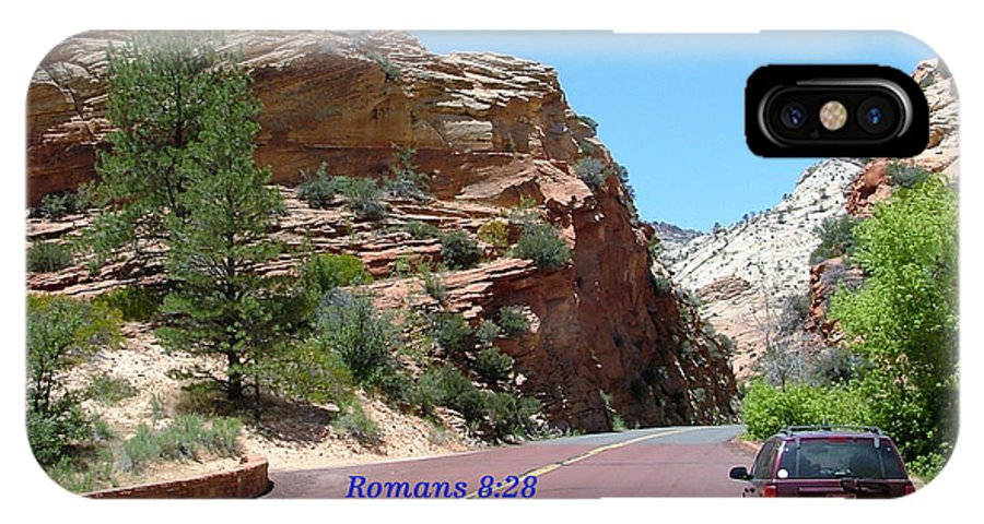 Inspirational IPhone X Case featuring the photograph Zion Romans 8-28 by Nelson Skinner