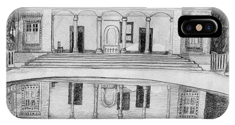 Landscape IPhone X Case featuring the drawing Zoroastrian Temple by Catia Silva