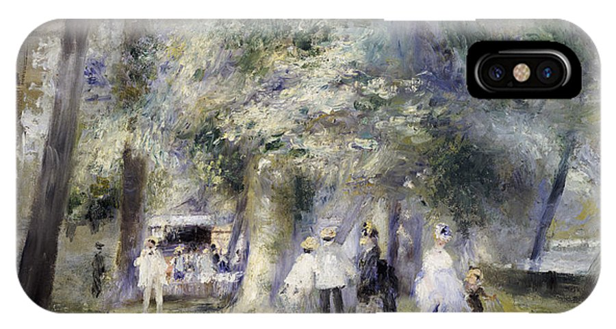Impressionist; Impressionism; Paris; Tree; Stroll; Walk; Promenade; Male; Female; Walking; Strolling IPhone X Case featuring the painting In The Park At Saint-cloud by Pierre Auguste Renoir