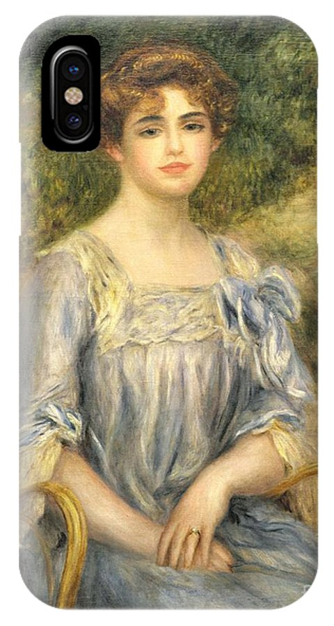 Nee Suzanne Adler; Female; Seated; Bun; Outside; Wicker Chair; Portrait IPhone X Case featuring the painting Madame Gaston Bernheim De Villers by Pierre Auguste Renoir
