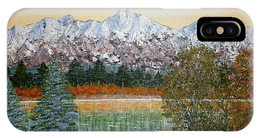 Landscape With Water Mountain Trees IPhone X / XS Case featuring the painting Mountain Fall by Georgeta Blanaru