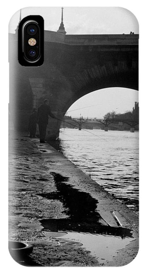 Paris IPhone X Case featuring the photograph Paris Shadow Fisherman 1964 by Glenn McCurdy