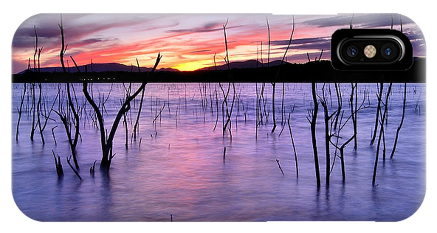 Sunset IPhone X Case featuring the photograph Purple Lake by Guido Montanes Castillo